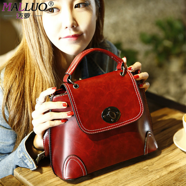 MALLUO Women bag Vintage PU Leather Hot Fashion Small Shell Bag Women Shoulder Bag Winter Casual Crossbody Bag Bolsa Feminina