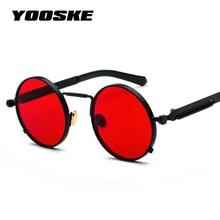 YOOSKE Retro Steampunk Sunglasses Men Round Designer Metal Steam Punk Gothic