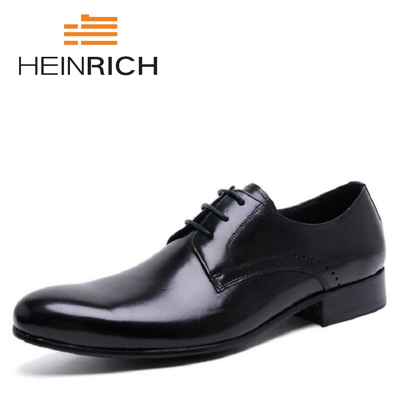 HEINRICH Handmade British Style Luxury Wedding Party Lace-Up Dress Shoes Genuine Leather Mens Derby Shoes Sapato MasculinoHEINRICH Handmade British Style Luxury Wedding Party Lace-Up Dress Shoes Genuine Leather Mens Derby Shoes Sapato Masculino