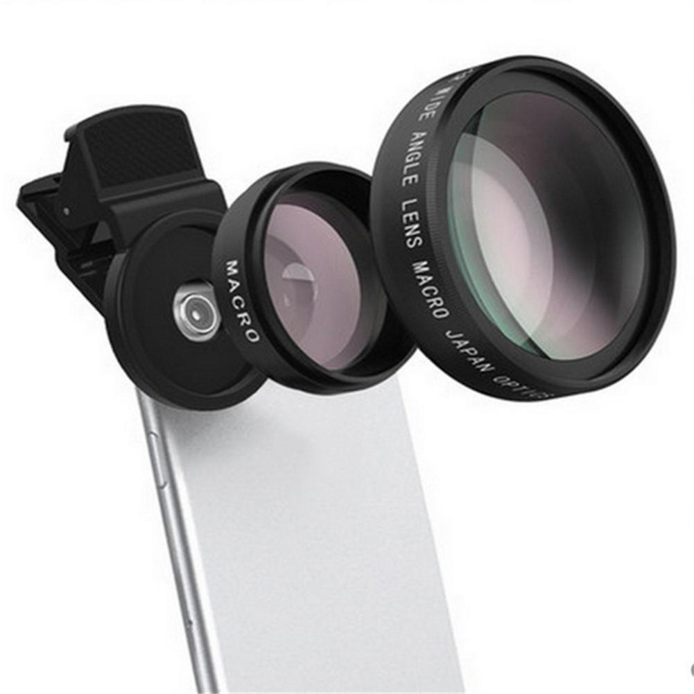 Mobile Phone Universal Clip Professional 37MM 0.45X 49UV Super Wide Angle + Macro T2- In-1 Phone Lenses