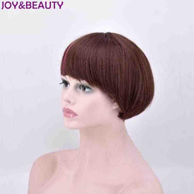 JOY & BEAUTY 20cm marrón rosa azul colores mezclados pelo sintético corto Bob peluca natural recta pelucas de fibra de alta temperatura