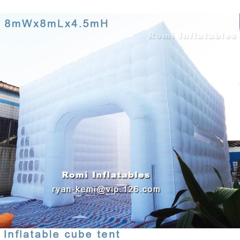 Livraison gratuite 8x8x4.5 mH tente cube gonflable tente cubique tentes gonflables géantes publicité tente gonflable