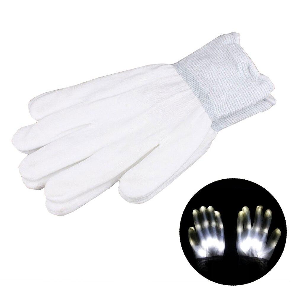 1 пара супер яркие перчатки со светодиодами для вечерние диско DJ для праздника фестиваль светодиодные перчатки светящиеся легкие перчатки Забавный дом - Цвет: Белый