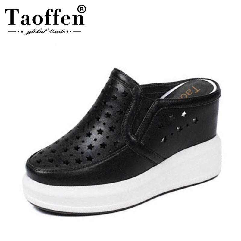 TAOFFEN Women Real Genuine Leather High Wedges Sandals Hallow Out Thick Bottoms Slipper Summer Shoes Women