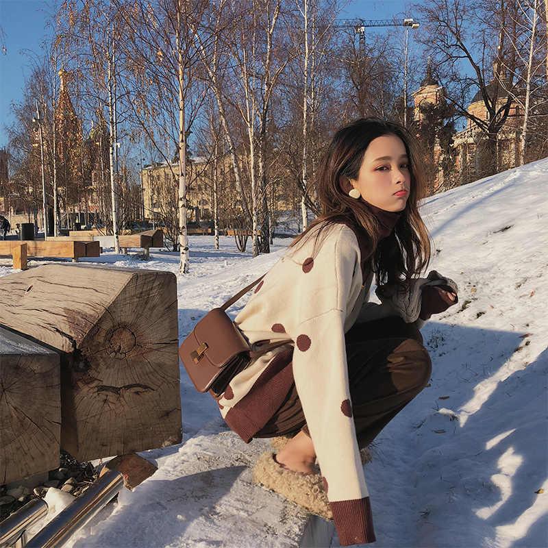 2019 MISHOW סתיו חורף דוט סוודר נשים 2019 loose סריגה ארוך שרוול לבן סוודר חולצות MX18D5410