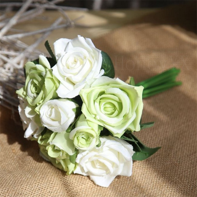 2PCS/LOT White Green Artificial Silk Flowers Rose Flowers with Green ...