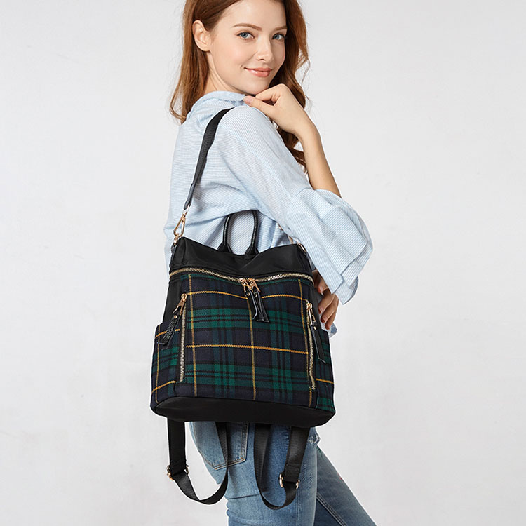 plaid women backpacks genuine leather travel backpack for lady brand shoulder bags (14)