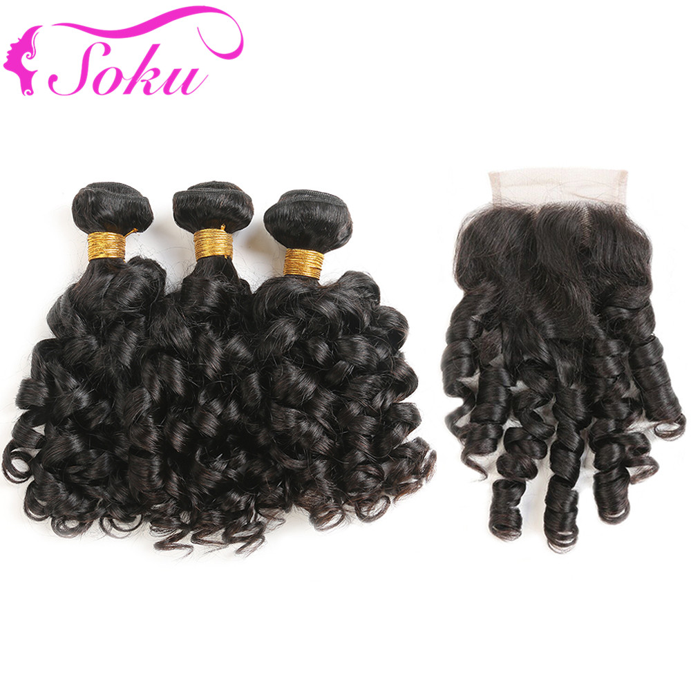 Bouncy Curly Human Hair Bundles With Closure 3 PCS Brazilian Hair Weave Bundles With Lace Closure