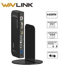 Wavlink 4 K Çift Ekran Evrensel Docking Station Usb 3.0 Gigabit Ethernet Ile Dikey Alüminyum Standı HDMI/DVI/VGA 6 USB Portları