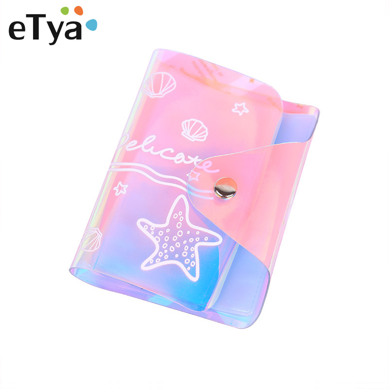 ETya 20 Card Slots Travel Women Men Credit Business Bank Card Holder Cover Bag Case Fashion Transparent PVC Female Purse Wallet
