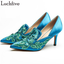 Multi-color satin velvet bridal pumps Pointed Toe 2018 embroidery flowers women shoes High quality high heels wedding stilettos
