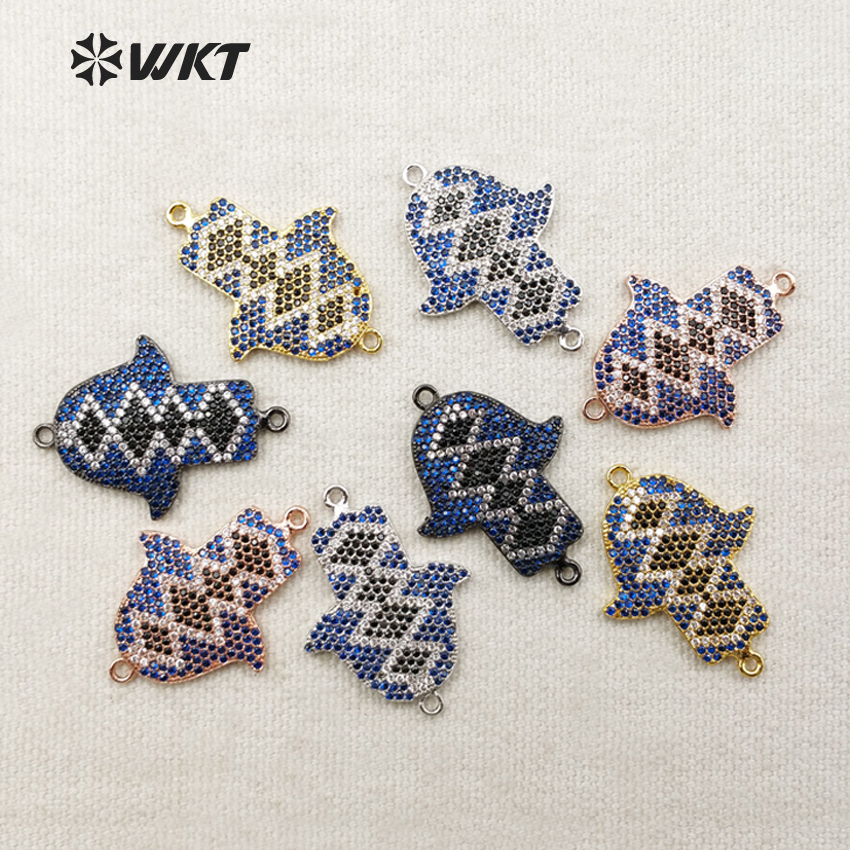 WT-MC213 Wholesale Custom Charming Micro Pated Colorful Cubic Zircon Connector Little Birds Small Pendants Fashion Jewelry