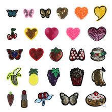 5PCS Cheaper Embroidered Applique Sequin Iron On Small Butterfly Love-heart Patches For Jeans Cartoon Airsoft Emoji Patch A
