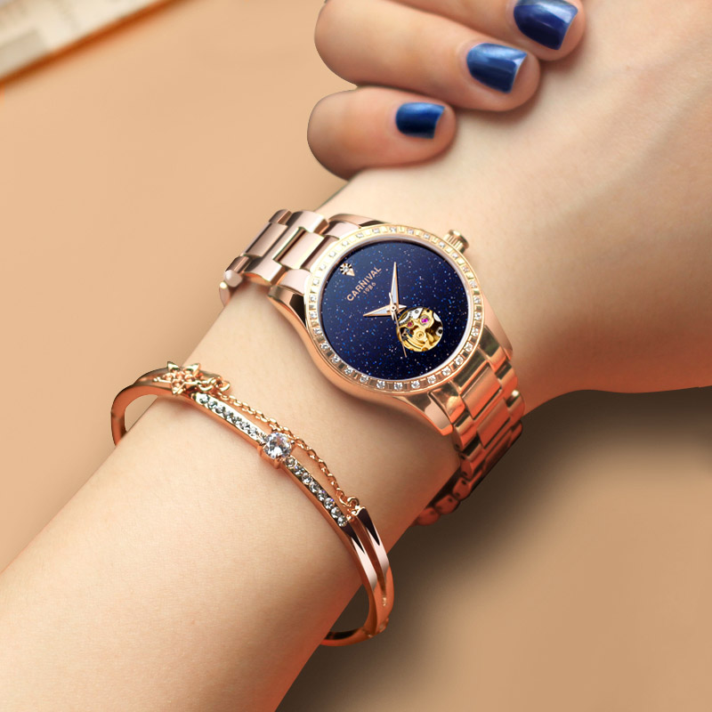 Carnival Luxury Brand Rose Gold Women Watches Dress Automatic Mechanical Wristwatch Steel Waterproof Girl Clock relogio feminino binger genuine gold automatic mechanical watches female form women dress fashion casual brand luxury wristwatch original box