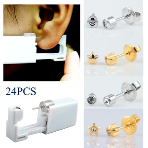 Image 1 - 24 pièces en acier inoxydable 316L jetable sans douleur oreille nez Piercing Kit stérile oreille goujons Piercing pistolet outil Piercing bijoux