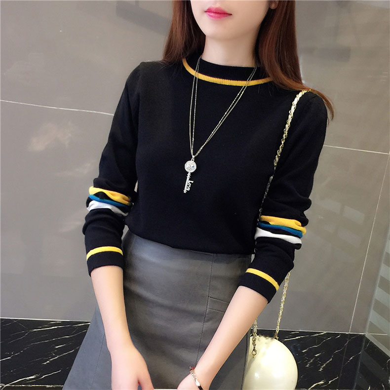 Black White Striped Women Knitted Sweater  1