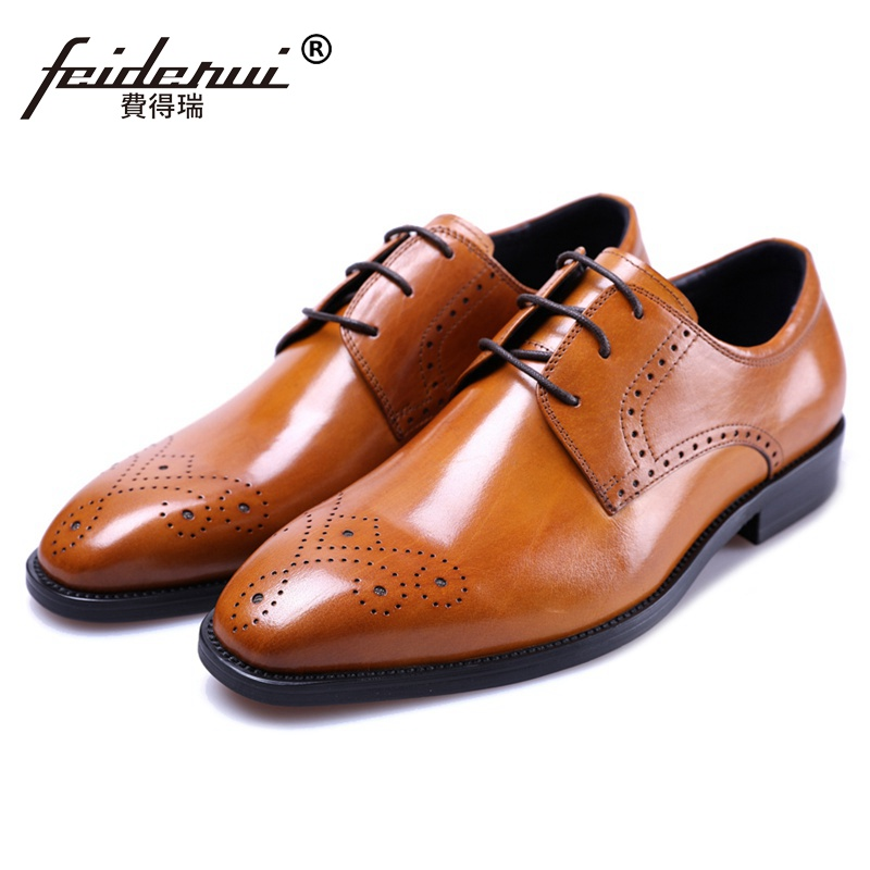 Summer Style Man Breathable Brogue Shoes Genuine Leather Carved Flats Round Toe Derby Men s Formal