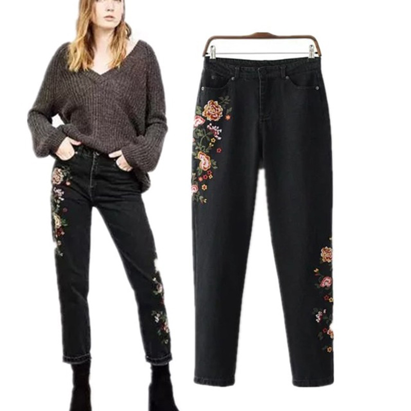 Hot Vogue Women Black Long Denim Pants Straight 3D Flower Embroidery Jeans High Waist Washed Jeans Female Cotton Denim Trousers flower embroidery jeans female blue casual pants capris 2017 spring summer pockets straight jeans women bottom a46