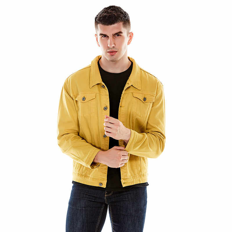 c4abd5b870d ... MORUANCLE Fashion Men Slim Fit Denim Jacket Stretch Jean Trucker Jackets  And Coats Outerwear Turn Down ...