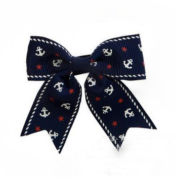 200pcs/lot  Navy Anchors Aweigh Hair Bow Personalized anchor Hair Bow