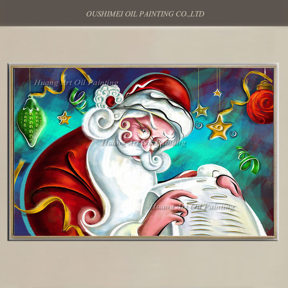 Hand Painted Abstract Christmas Gift Painting on Canvas Santa Claus Oil Painting Wall Art For Living Room Decor Modern Painitngs