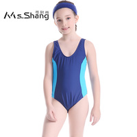 2017 Girl One Piece Swimsuit Solid Bandage Kids Swimwear Children Competition Sport Swim Suit Blue Pink