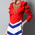 HIGH QUALITY Fashion 2017 Spring Designer Runway Cute Dress Women's 3/4 Sleeves Stand Collar Luxury Beading Ruffles Dresses