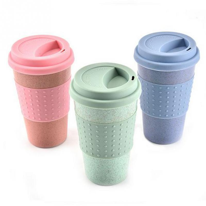 Eco Friendly Wheat Straw Plastic Coffee Cups Travel Mug With Lid Cup Portable Outdoor Camping Hiking Picnic