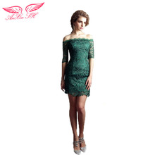 AnXin SH Green lace dinner conference evening Dresses green princess turkey boat neck lace evening Dresses 1402
