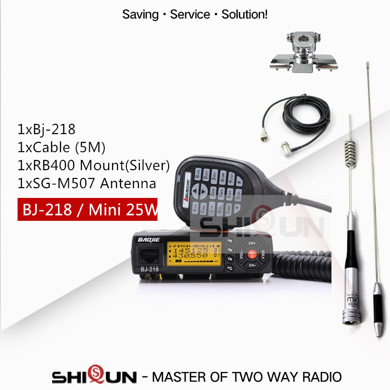 25W Mobile Car Walkie Talkie BJ 218 with Antenna SG M507 Z218 UHF VHF Dual Band