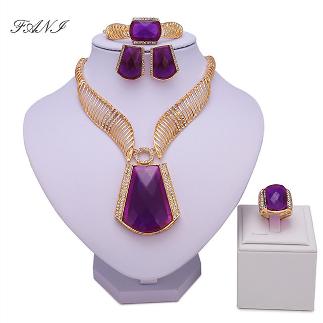 Fani nigerian bridal bead set Exquisite Dubai Gold Colorful Jewelry Set Women Wedding African Beads Jewelry Set Costume Design