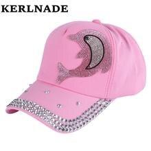 оптовая девочка мальчик мода марка шляпы Cap розовый горный хрусталь Дельфин дизайн персонажей дети бейсболки дети милый снэпбэк