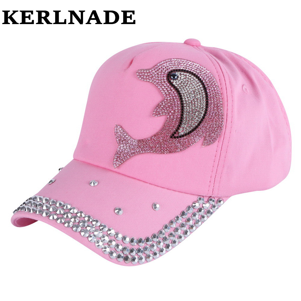 wholesale girl boy fashion   cap   brand hats pink rhinestone Dolphin character design children   baseball     caps   kids cute snapback