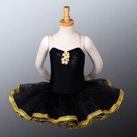 Discount Child Classical Black Ballet Tutus Professional Tutu Costumes Kids Girls Toddler Size Exercise Dance Skirt CB1043