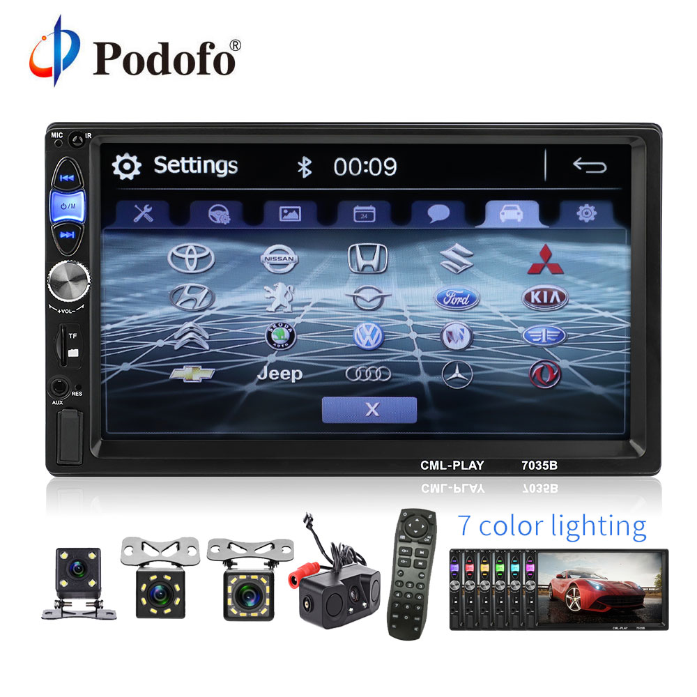 Podofo 2din Android Mirror Link Car Radio 7 Multimedia MP5 Player subwoofer Autoradio Bluetooth Rear View Camera tape recorder