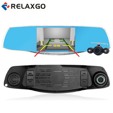 Relaxgo Роскошные 5.0 дюймов зеркалом заднего вида Автомобильный видеорегистратор Full HD 1080 P камеры автомобиля Парковка два объектива автомобиля видеорегистратор ночного видения