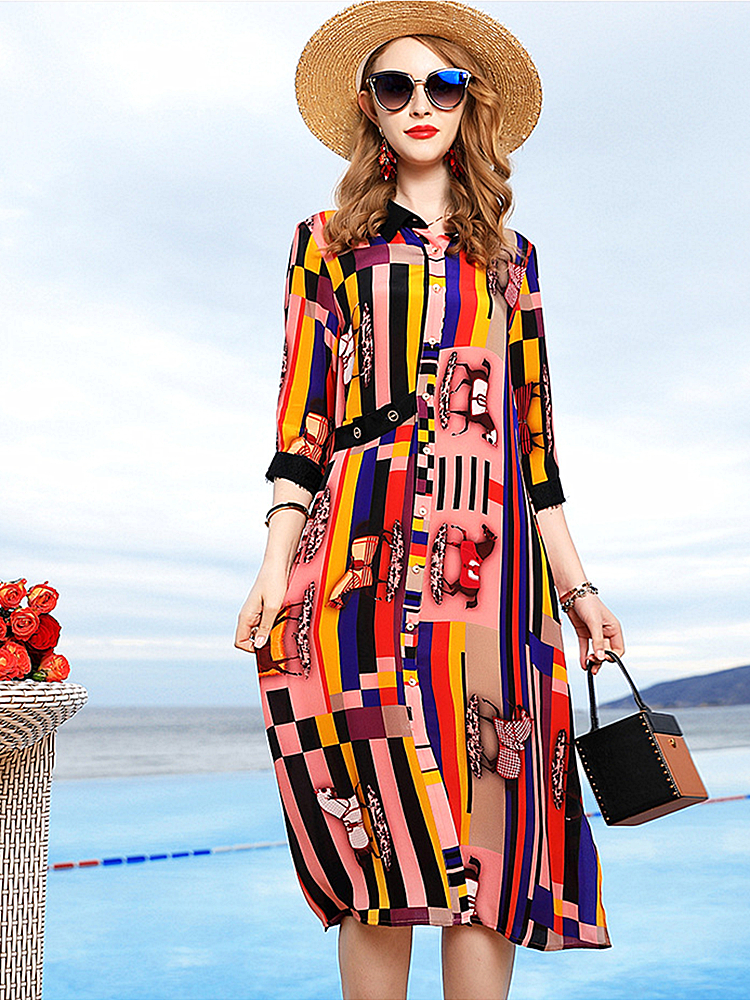 2019 Spring and Summer new High-end Fashion Women's Retro Print Cardigan Silk Seven-point Sleeves Slim Dress in the Long Section
