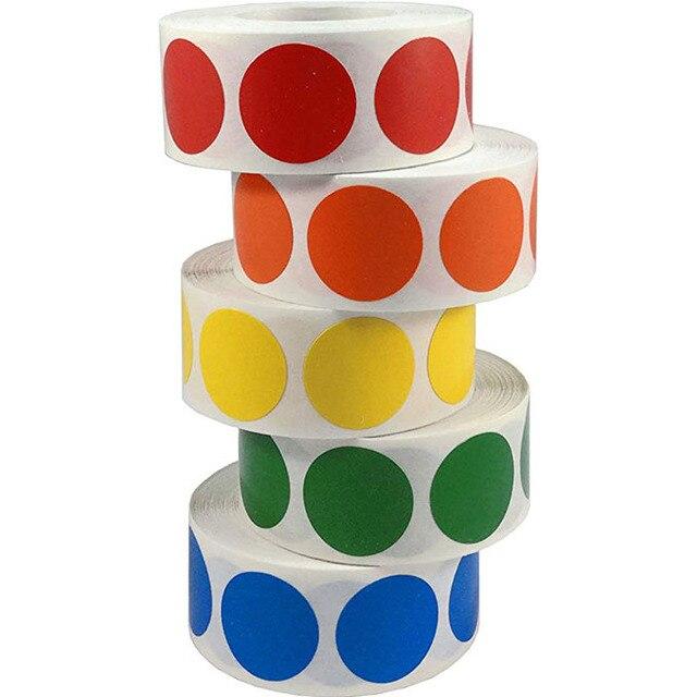 Chroma этикетка 1 дюйм цветной код круглые бирки наклейки 500/рулон черный, белый, зеленый, синий, оранжево, красный, розовый, желтый канцелярские ...