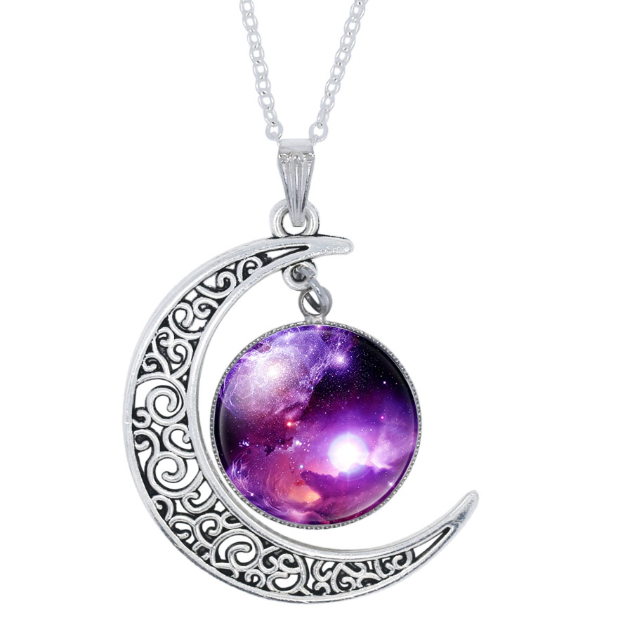 d79ff4c8be34c1 NingXiang 12pcs/lot Fashion Nebula Space Universe Galaxy Glass Cabochon  Moon Pendant Necklace Women Silver Color Choker Necklace