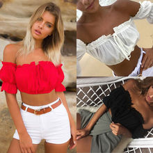 Fashion Women Ladies Clothing Blouse Tops Off Shoulder Casual Short Sleeve Loose Top Clothes