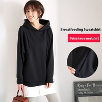 ZBAIYH Spring Maternity Clothes Black Hoodies Outdoor Activity Breastfeeding Pregnant Clothing Fashion False Two Sweatshirt