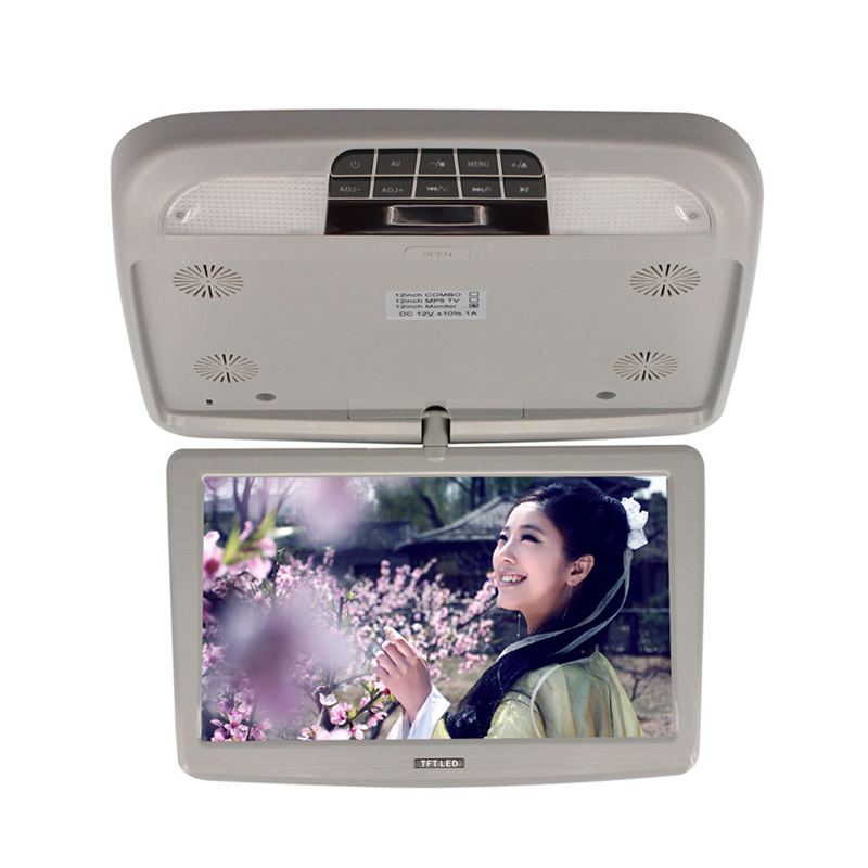 ФОТО Car Roof Mount Monitors 12'' Flip Down TFT LCD Monitor Gray Color With LED Light Remote
