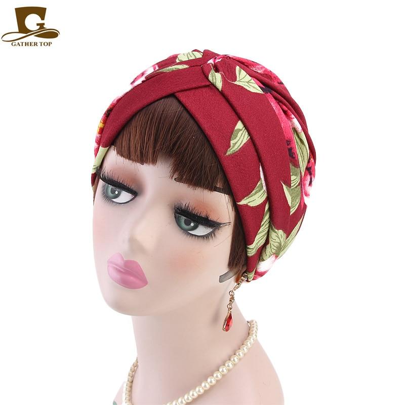 New Fashion Women Flower Printing Turban Vintage Turban Hat Headband Turbante Headwear For Chemo Hijab Hair Accessories