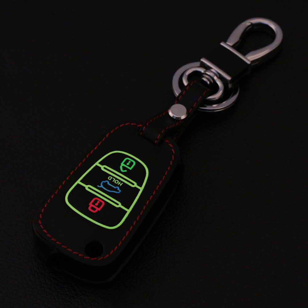 luminous leather car key fob cover case for kia rio k2 k5. Black Bedroom Furniture Sets. Home Design Ideas