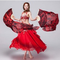 2018 1 Pair 100 Silk Fans Dance Tie Dye With Bamboo 1 8m Belly Dance Fans
