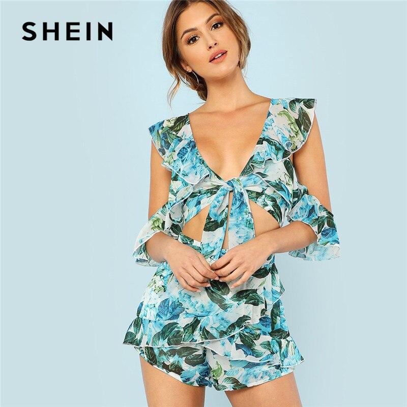 Women's Clothing Off Shoulder Blouse Women Stylish Print Sexy Deep V Beach Travel Boho Chic Summer Tops Ruffle Slim Holiday Casual Blouses Female