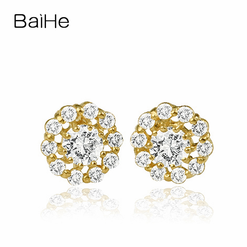 BAIHE Solid 18K Yellow Gold 0.10CT H/SI Round 100% Genuine Natural Diamonds Engagement Trendy Elegant Unique Gift Stud Earrings baihe solid 18k yellow gold au750 engagement
