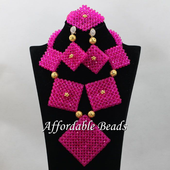 Fuschia African Jewelry Bead Set Splendid Nigerian Beads Jewelry New Design Item ABC077