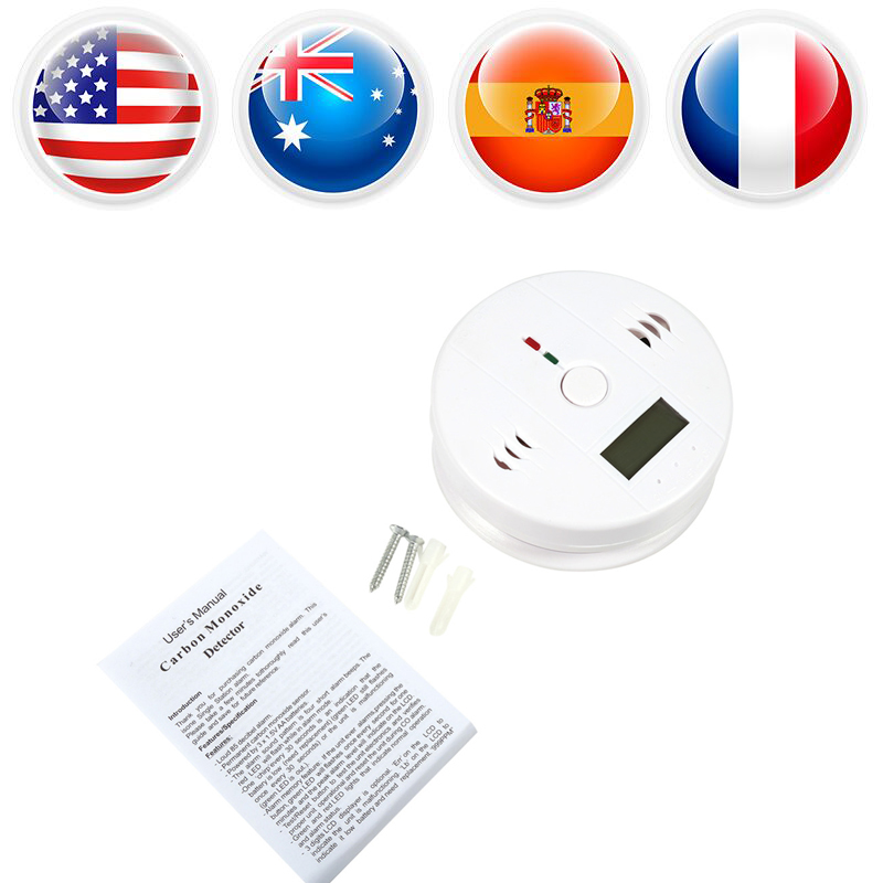 LCD Display CO Carbon Monoxide Alarm Detector Sensor Tester Home Security Safety Gas with Sound Light Warning highly sensitive