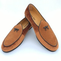 New Fashion Men Leather And Velvet Handmade Loafers Men Belgian Dress Shoes Brown Slippers Flats With
